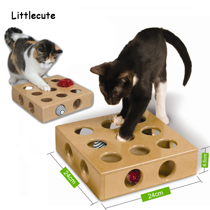 Pet Supplies Cat Interactive Puzzle Play Toy Box Cats Hide Seek Box Scratching Toy Funny Platform Kitty Puzzle Toys With Ball