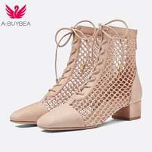 New Women Summer Lace-Up Leather Ankle Boots High Quality Zapatos Femme Square High Heel Women Shoes Hollow Out Female Boots