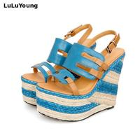 3 Colors Women Wedges 13 5cm High Heels Sandals Striped Straw Shoes Casual Platform Shoes Open