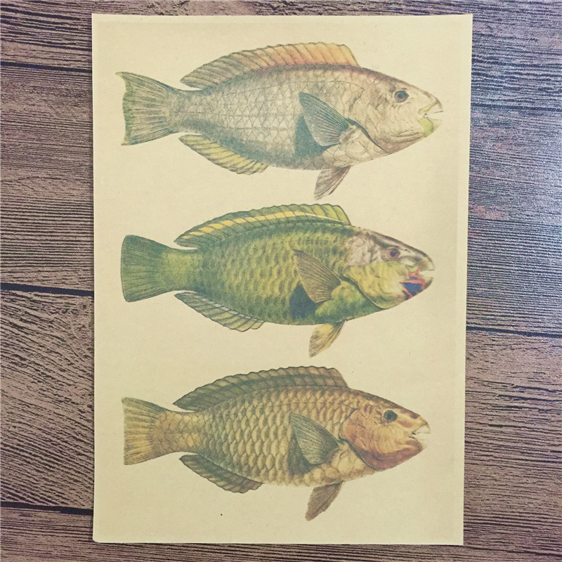 Direct selling KLT-022 Free ship vintage poster Gold fish home decor wall art craft sticker painting for kids rooms 42x30 cm