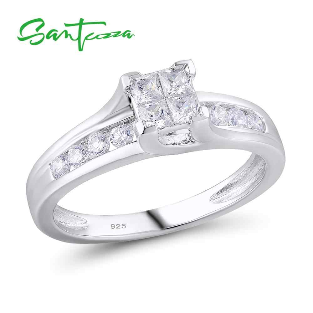 แหวนเงินผู้หญิงแหวนหมั้น Cubic Zircon CZ แหวนเงินแท้ 925 เครื่องประดับ