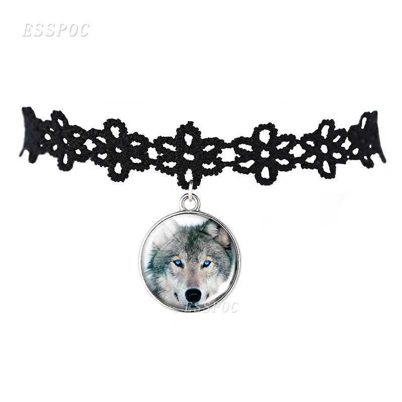 Hollow wzory łańcuch czarny naszyjnik na obojczyk wilk i wycie naszyjnik wilk szklaną kopułą wisiorek prezent dla mężczyzn kobiety