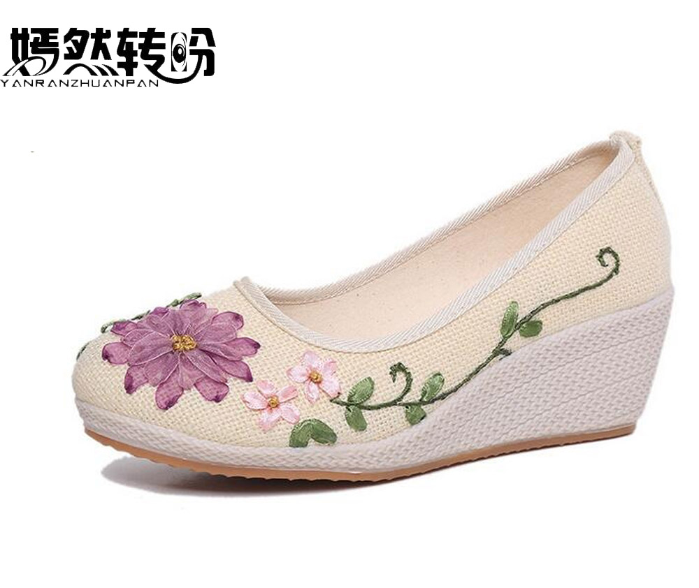Vintage Embroidered Women Shoes Ethnic Natural Linen Shoes Slope Heel Retro Cloth Canvas Soft-soled Dance Single Shoes latin canvas dance women shoes female adult social modern shoes with leather soft soled shoes women square dance shoes