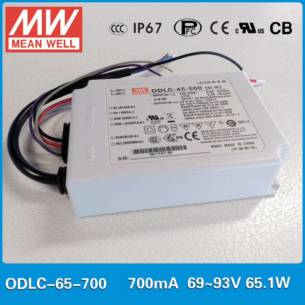 Original MEAN WELL Flicker free LED Power Supply constant current ODLC-65-700 output 65W 700mA 69~93V 0~10VDC/PWM signal dimming original meanwell led driver apc 16 700 16 8w 9 24v 700ma led power supply constant current mean well apc 16 ip42