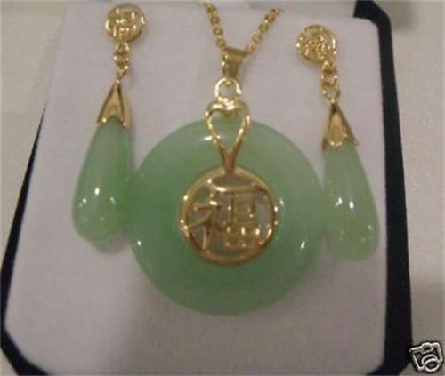 8eb52c0ff029 Envío libre joyería noble natural del nuevo estilo  Joyería hermosa 18kgp  oro piedra verde de la naturaleza Pendientes COLLAR COLGANTE conjunto