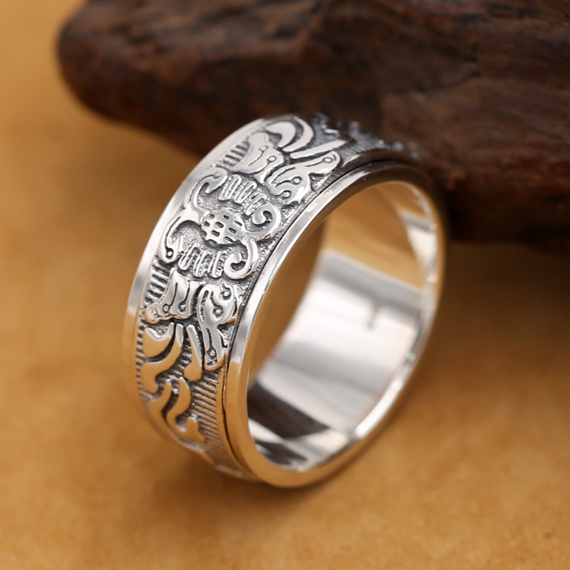 Handmade 925 Silver Butterfly Turning Ring Good Luck Spinning Ring Vintage Sterling Silver Ring Unisex vintage artificial oval turquoise butterfly carved ring