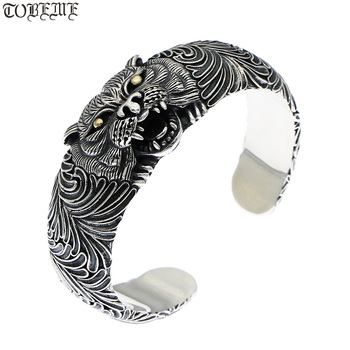 NEW! Thai 925 Silver Tiger Bangle Vintage Sterling Silver Power Tiger Bangle Man Bangle PUNK Jewelry фото