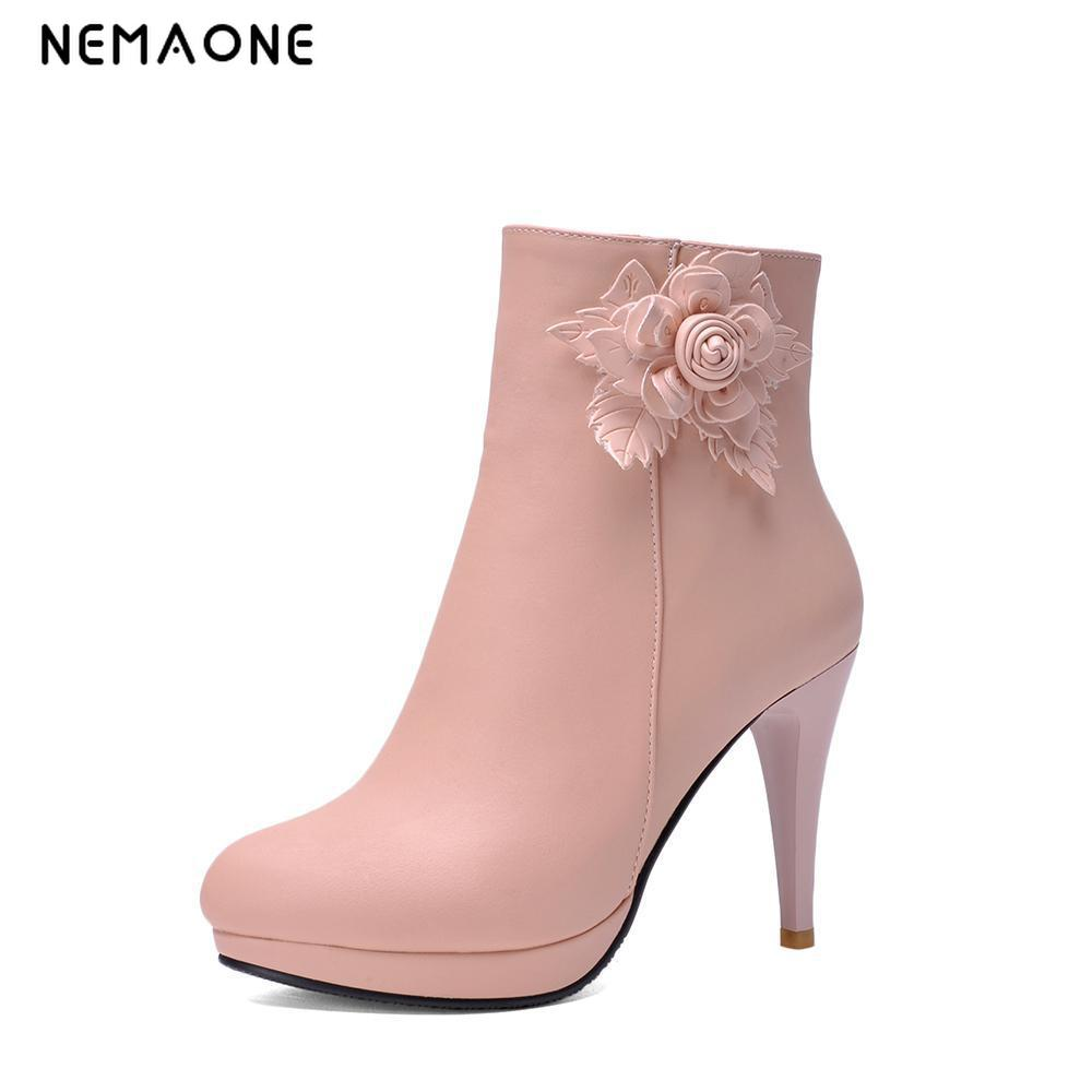 NEMAONE 2017 Fashion elegant Style Women boots Design Round Toe Platform boots Thin High Heels Women Ankle Boots Party Shoes