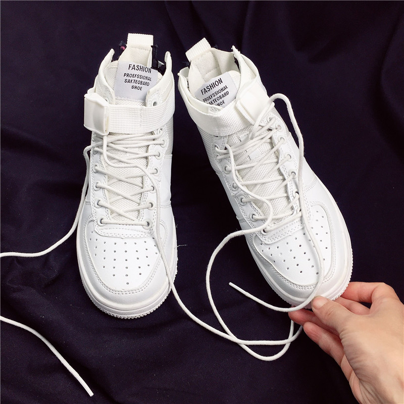 2018 Unisex Fashion hip hop Street Dance Shoes Women Casual Shoes White Flat Female Basket Lace Up Solid Trainers