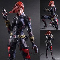 Black Widow PlayArts Kai Action Figures Captain America Romanova 270mm PVC Anime Model Toys Black Widow Movie Toy Play Arts Kai