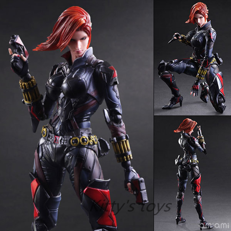 Black Widow PlayArts Kai Action Figures Captain America Romanova 270mm PVC Anime Model Toys Black Widow Movie Toy Play Arts Kai ...