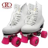 Reniaever مزدوجة الأسطوانة ، التزلج الأحذية ، حقيقية الجلود عالية التمهيد ، هدية المرأة الوردي العجلات ، الشكل الجليد ، أبيض