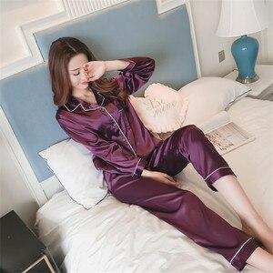 Image 5 - Caiyier 2018 Witer soie Pyjamas ensembles à manches longues Pyjamas de nuit pour les femmes soie Homewear Sexy chemise de nuit pyjama femme 5xl taille