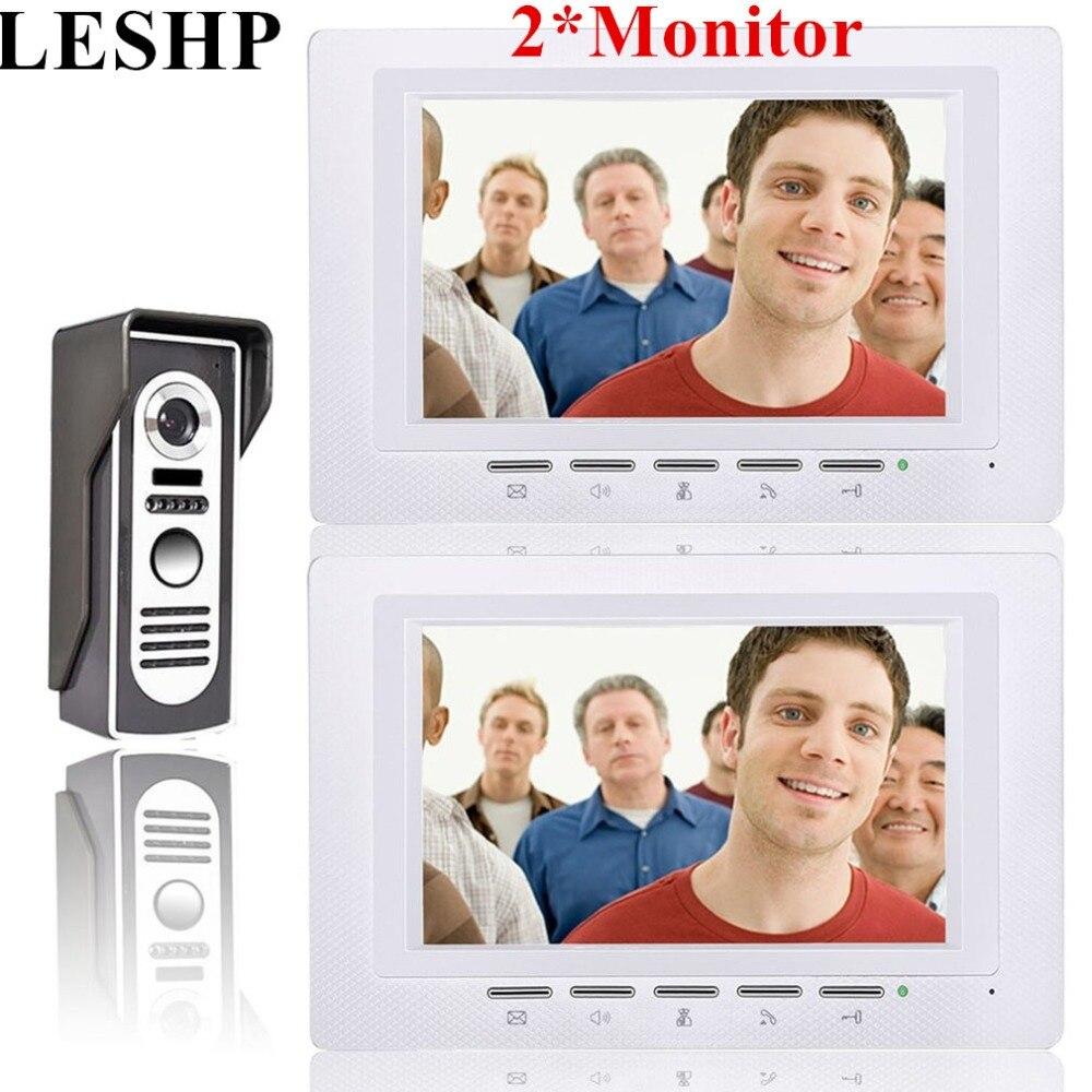 7 inch 1V2 Video Door Phone Doorbell Intercom Kit Color LCD Screen + Security Outdoor Camera Night Vision Access Control System
