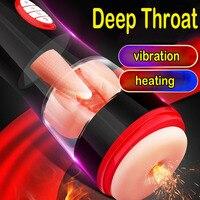 Intelligent Vibrator Sex Toys For Men Heating Deep Throat Male Masturbator Pocket Pussy Artificial Vagina Tongue Licking For Man