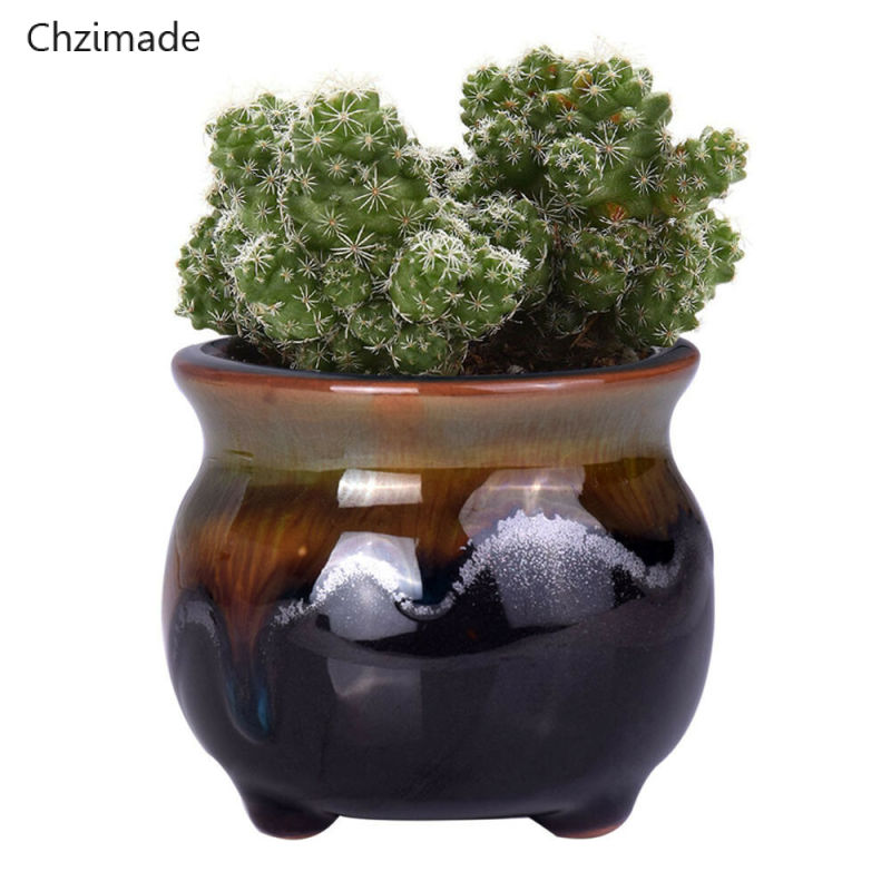 Chzimade Chinese Ceramic Bonsai Flower Pots For Succulent Flower Plants Glazed Pot Planter Diy Home Decor