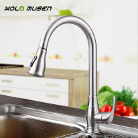 New Arrival Lead Free Brushed Nickel Kitchen Mixer SUS304 Stainless Steel Kitchen Faucet Pull Out Design