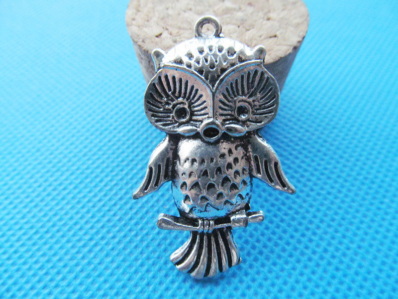 6pcs Antique Silver toneAnique Bronze Cute Night Owl Pendant CharmFinding,fit 2pcs Rhinestone,DIY Accessory Jewelry Making