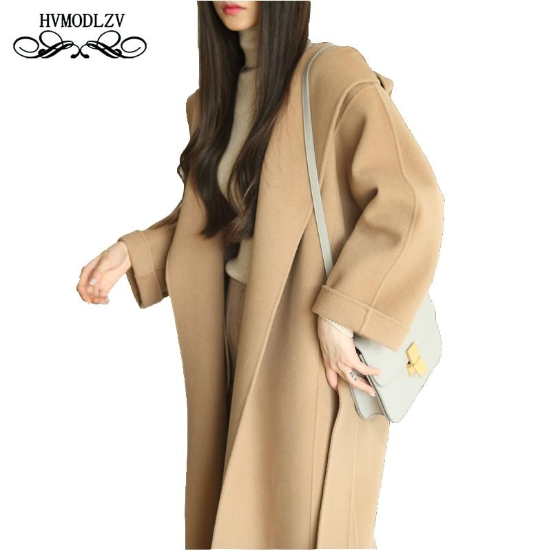 Plus size Top Women Woolen Coat 2018 New Hooded Long Section Double-sided wool P Women High-end Handmade Woolen Jacket LJ534