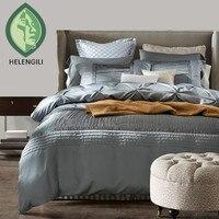 Cotone di seta di lusso biancheria da letto set copripiumino letto set letto lino blu rosso grigio queen king size biancheria da letto foglio di hotel #2
