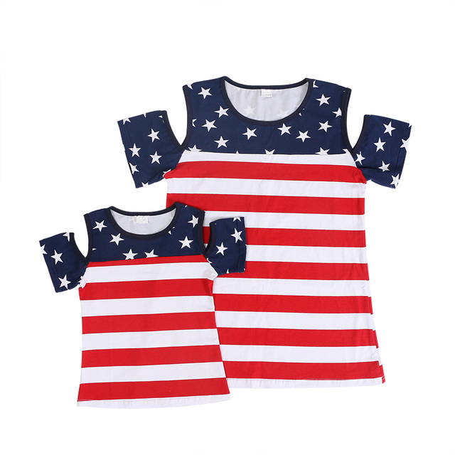 4fc634ae2c89 Kaiya Angel 4th Of July Mother Daughter Matching Outfits Dark Blue Red  Stripe Cotton Stars Summer Baby Girl Family Clothes