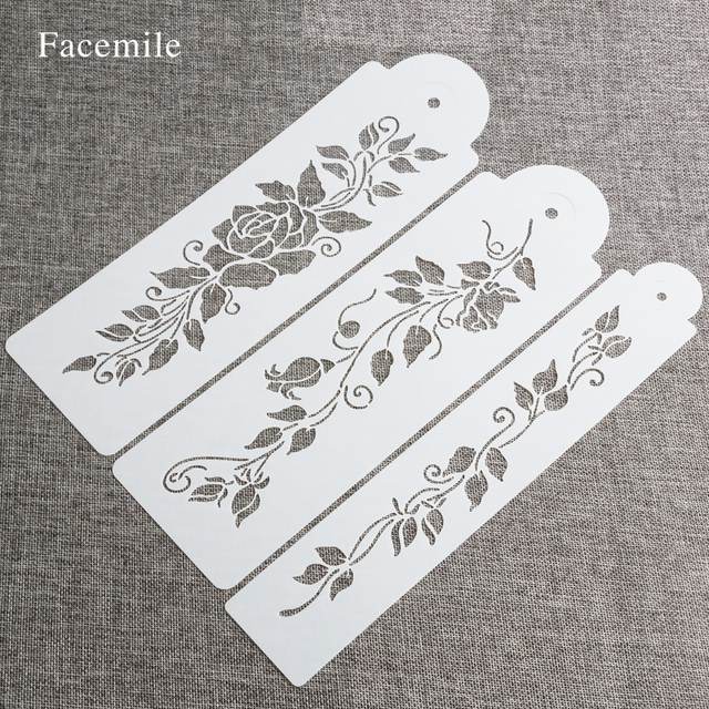 Facemile 3 stks/set Boom Wijnbladeren Fondant Cake Deorationg Stencil Wedding Cake Decoratie 55063