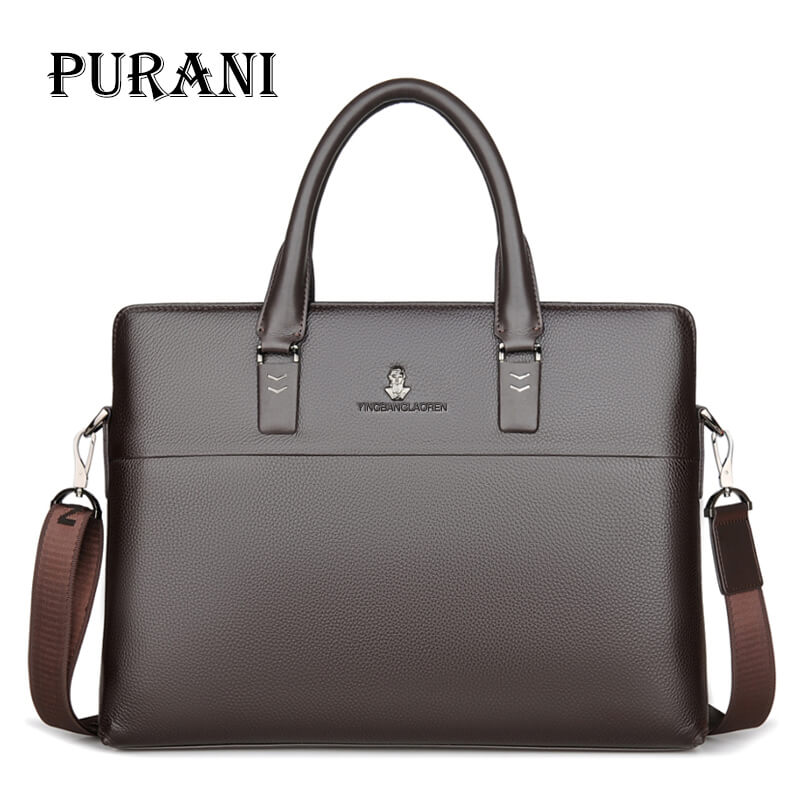PURANI Natural Leather 100% Genuine Leather Men's Briefcase Business Large Capacity Dress 14