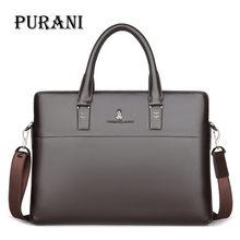 "Купить с кэшбэком PURANI Natural Leather 100% Genuine Leather Men's Briefcase Business Large Capacity Dress 14"" Laptop Bag Black Male Shoulder Bag"
