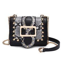 2017 Fashion well-known model Alligator leather-based Shoulder Bag Satchel Handbag rivet Small Women Crossbody bag chain Women's purses