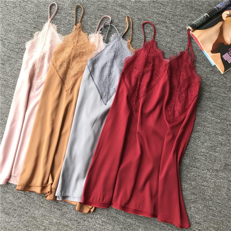 Ladies Satin Spaghetti Strap Sexy Mini Rayon   Nightgown   Lace V-Neck Women Summer Night Dress Sleepwear   Sleepshirt   Size M L XL