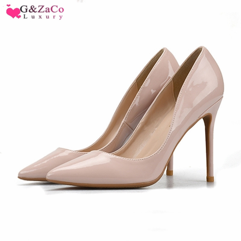 G Zaco Luxury European Fashion Pumps Thin Middle High Heels Shoes Patent Leather Pointed Toe Sexy