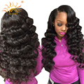 Lace Frontal Closure With Bundles Brazilian Virgin Hair Loose Wave 4 Bundles With Closure Sunlight Hair Company  8A Top Quality