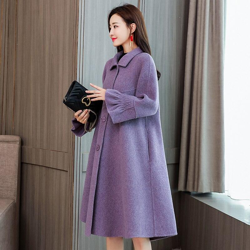 Manteaux Automne Manteau Purple Grande Qualité Taille Cachemire Laine Femme black Haute Chaud Vêtements Corée Nouveau gray De Élégante Femmes Hiver 704 Mode IqTngFw