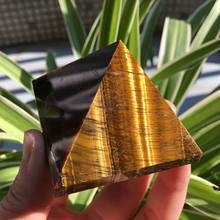 Natural tigre olhos pirâmide de cristal polido cura pirâmide reiki minerais quartzo cristais pedra para venda
