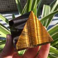 Pyramide de cristal naturelle yeux de tigre poli pyramide de guérison minéraux de reiki pierre de cristaux de Quartz à vendre