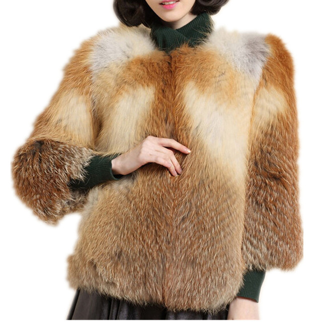 C201507-Autumn winter 2016new style fashion fur coat of genuine silver fox, red fox fur, women female fur coat
