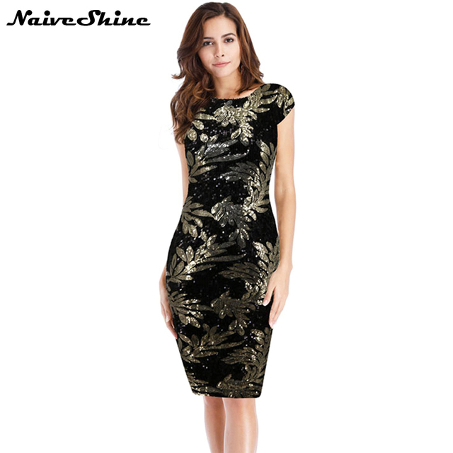 4de3664ee2 US $18.99 40% OFF|Aliexpress.com : Buy Naive Shine Elegant Sequin Leaves  Pattern Vintage Office Dress Sleeveless Sexy Backless Sheath Women's Party  ...