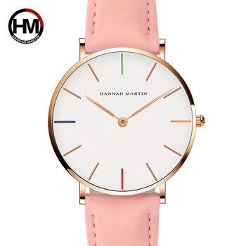 Japón movimiento casuales de moda famosa marca de lujo de cuero gris Simple reloj resistente al agua reloj de mujer bayan kol saati