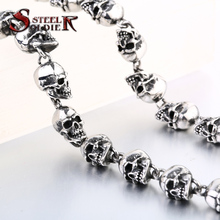 steel soldier arrival fashion men punk skull necklace stainless steel high quality men personality skull jewelry