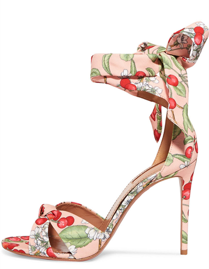 New cloth summer autumn women shoes pink floral bandage high heel sandals sexy peep toe thin heels sweet princess stilettos floral patch detail peep toe sliders