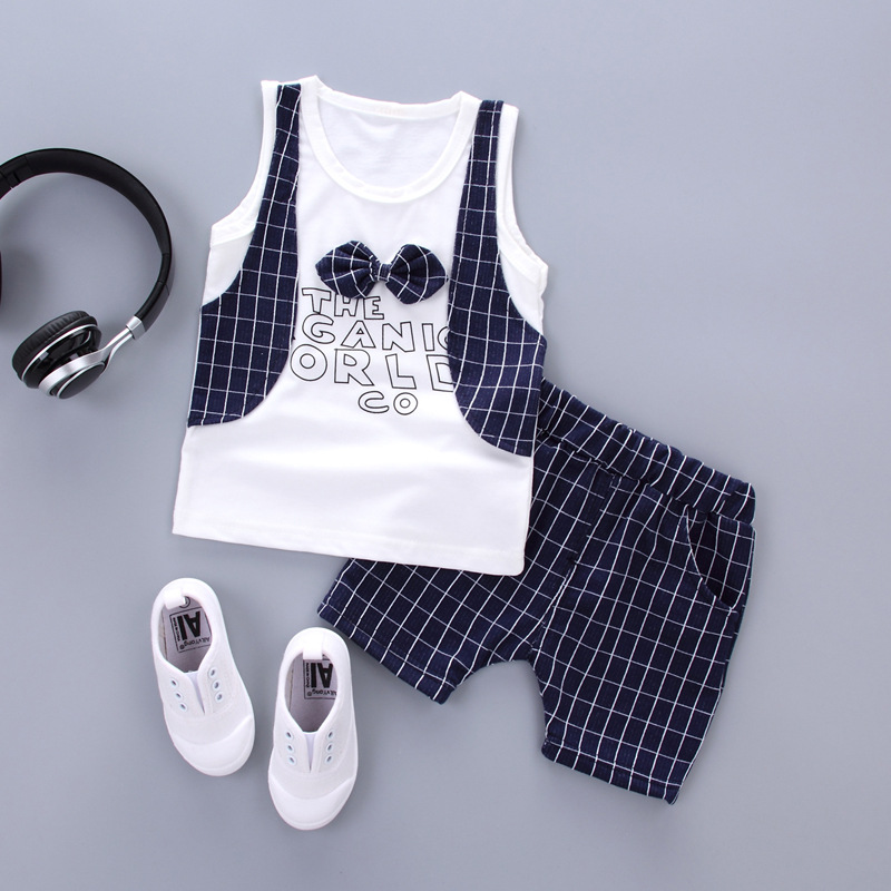 2 Pcs Summer Boys Handsome Gentleman Suits Summer New Baby Boy Tracksuit Clothes 1 2 3 Years Grid Toddler Children Clothing Set children s clothing summer sets 2015 boys short sleeve tracksuit 12 15 years old boy clothes pentagram little boy brand suits