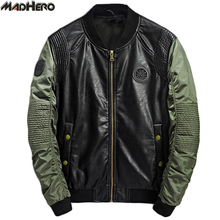 MADHERO PU Leather Jacket Men Top Quality Fashion Slim Button Pockets Patchwork Bomber Jackets Casual Coats Male Autumn Winter