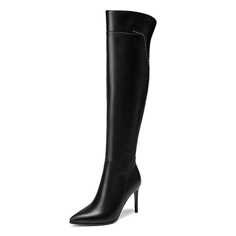 Véritable Pointu D'hiver Dames Cuir Bout Pleine Genou Sur Haute Élégantes De Beige Chaussures Le black 2019 Femmes Talons Bottes Mode En Stilettos pXwFqwC