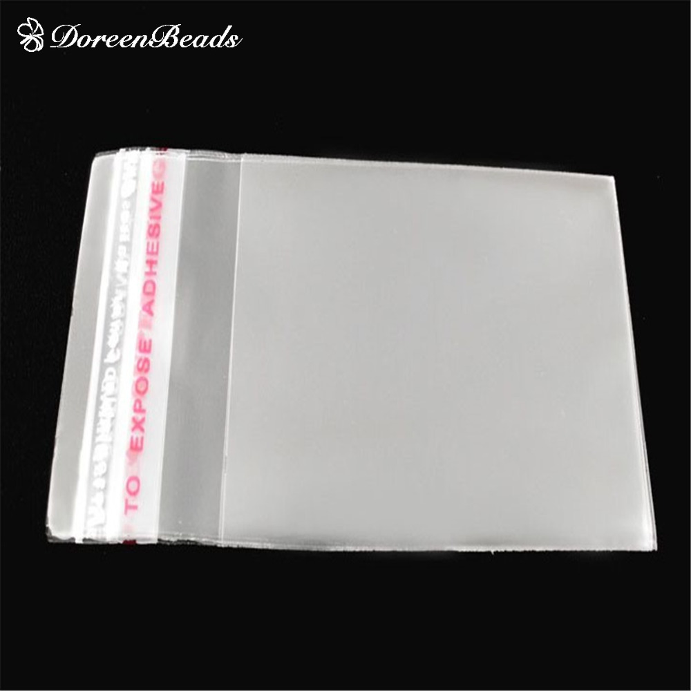 DoreenBeads 200 PCs Clear Self Adhesive Seal Plastic Bags 6x4cm (Usable Space 4.5x4cm)