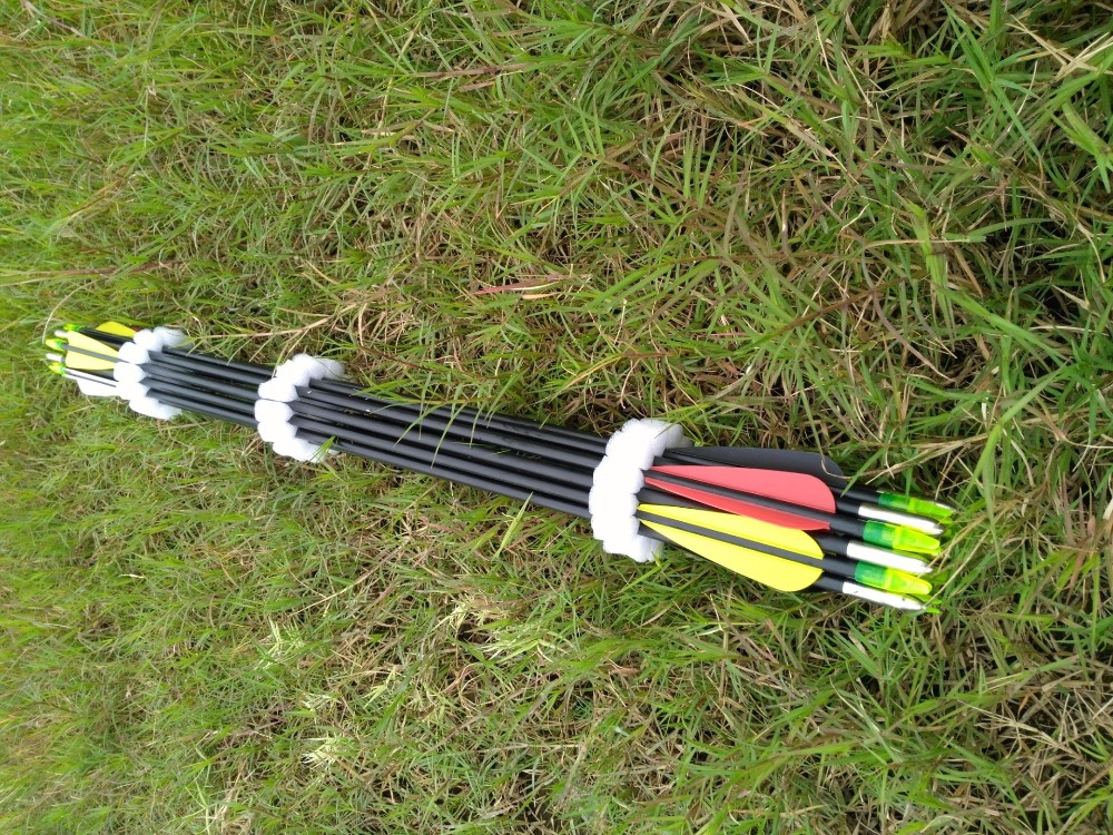 18pcs/25pcs 80cm DIA 8mm Archery Hunter FRP Fletched Arrows Fiberglass Arrow Steel Point 30-80lbs For Recurve Bow Target Arrow