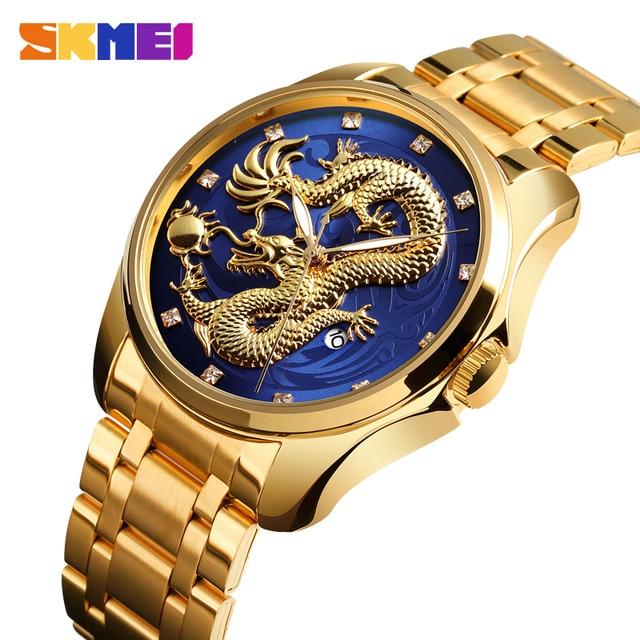 SKMEI แบรนด์หรูผู้ชายนาฬิกา Golden Dragon นาฬิกาควอตซ์ชายกันน้ำวันที่แสดงสแตนเลสสตีลนาฬิกาข้อมือชาย