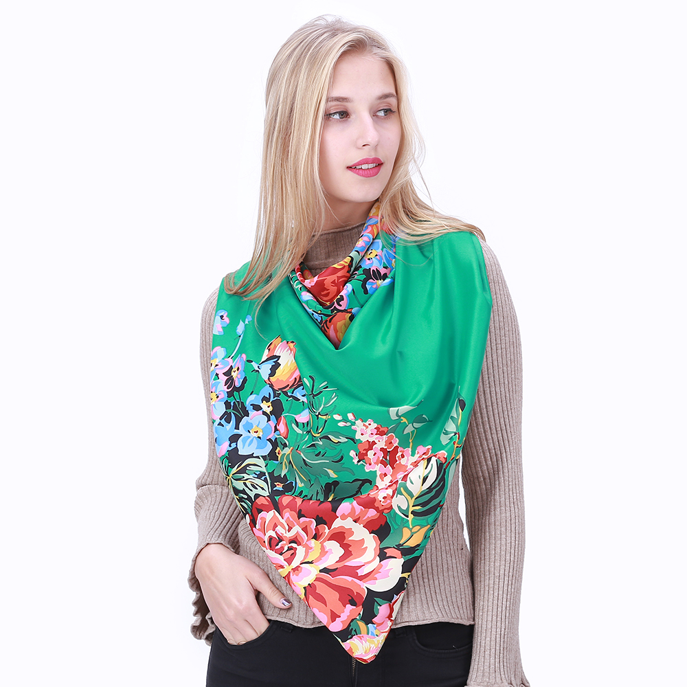 POBING 100% Silk   Scarf   Women Floral Print Square   Scarves     Wraps   Large Shawls Spain Silk Foulard Bandanas Femme Echarpes 130CM