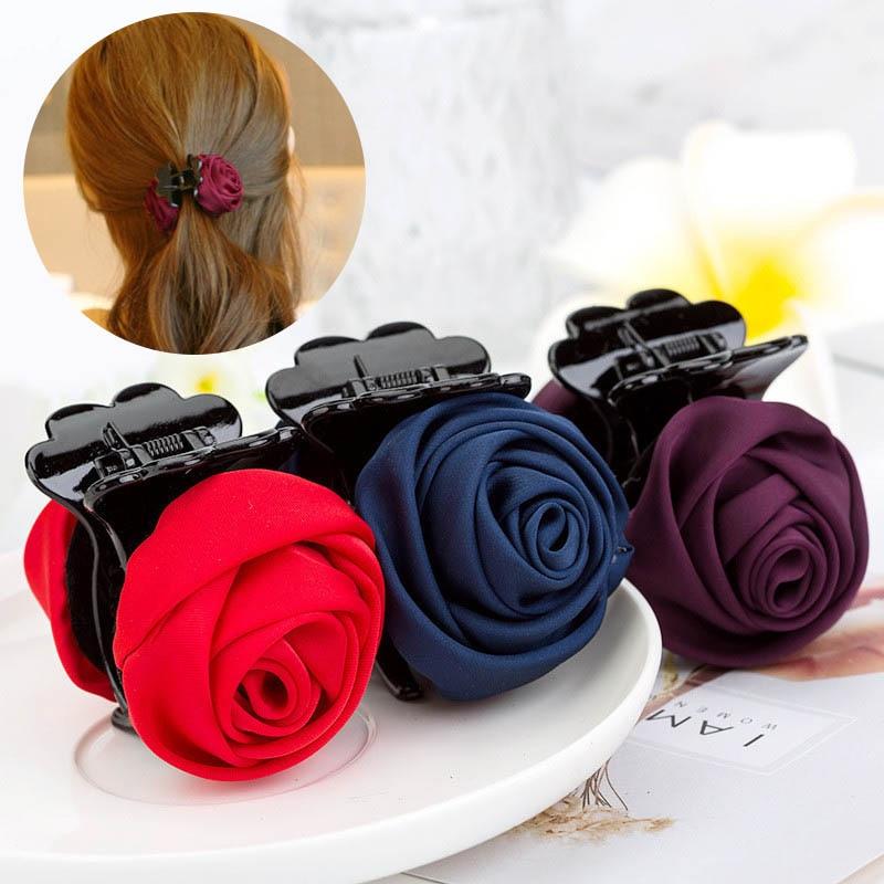 Fashion High Quality Rose Flowers Cloth Plastic Teeth Hair Claw Clips Exquisite Elegant Headwear For Women Girl Hair Accessories