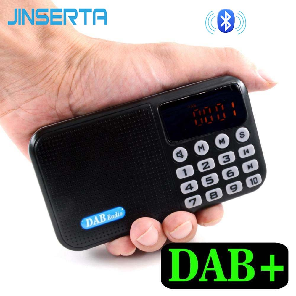 JINSERTA Portable Digital FM Radio DAB/DAB+ Reveiver Bluetooth MP3 Player With LED Display Support TF Card U Disk Play