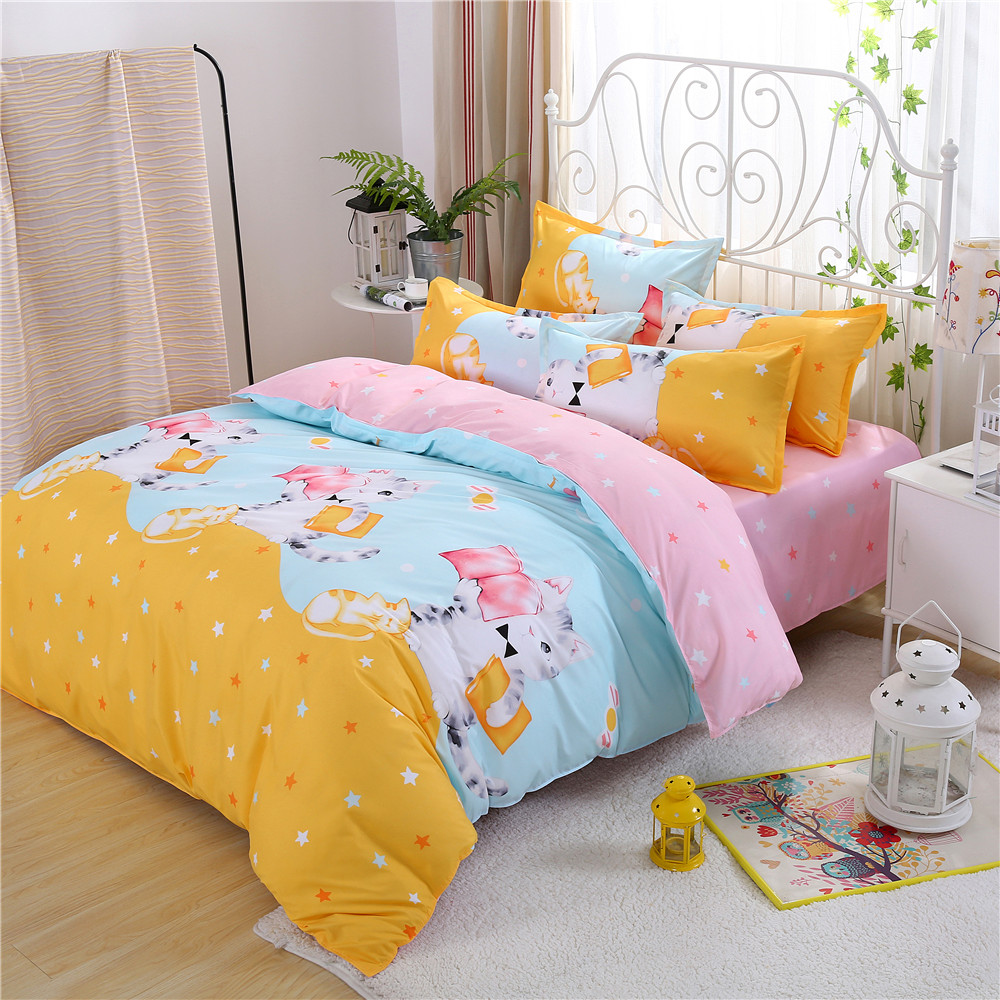 Cat In Yellow Pink Bedding Printed Reading Book Duvet Cover Sheets Pillow  Case King Queen Full Twin Size Cute Girls Bedclothes In Bedding Sets From  Home ...